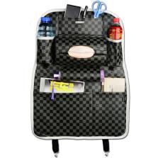 WRC FGZWD 运动格系列 多功能纤皮车用收纳置物椅背袋【方格黑灰】