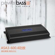 【免费安装】美国POWERBASS ASA3-600.4 车载AB类四声道功放 额定功率100瓦