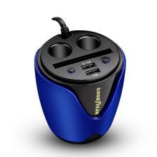 固特异/Goodyear 杯式车载充电器 多功能手机双USB车充 一拖二点烟器