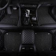 BBA车品制造商 文丰方格斜纹皮革加丝圈双层全包专车专用五座脚垫JD14【黑色】