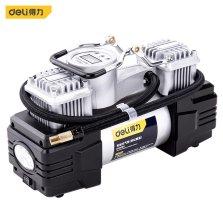 得力(deli)车载充气泵预设胎压金属双30缸便携式12v电动打气泵打气筒 带灯可测压 DL8060