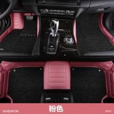 文丰潮人专属色系双层可拆卸专车专用全包围五座脚垫JD19【粉色】【多色可选】