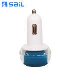 风帆/sail 双USB车载充电器  晶莹剔透车充 CC-02 天空蓝