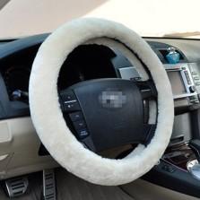 梦雅德 汽车方向盘套冬季短毛绒 通用保暖防滑汽车把套 【米色】
