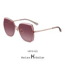 海伦凯勒墨镜女2020年新款太阳镜女圆脸高圆圆同款韩版潮大框眼镜偏光墨镜 H8918N22玫瑰金框+烟粉渐进