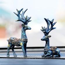 车内饰品摆件 一路平安鹿摆件车载高档个性创意可爱汽车用品摆件   摆件鹿(经典-蓝色)-1对装