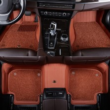 洛奇 专车专用压模全包围双层脚垫【棕色五座】
