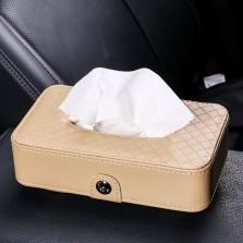 福和祥  车载纸巾盒车用纸巾盒 椅背挂式 汽车遮阳板 天窗挂式抽纸盒车用 超纤皮款 米色
