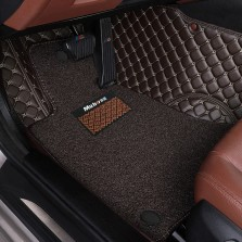 Mubo牧宝 金星款抗菌皮革全包围丝圈双层五座专车专用汽车脚垫【双层咖色】