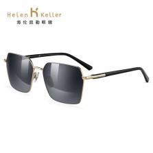 海伦凯勒新款偏光潮太阳镜男简约个性方框墨镜近视开车镜 H8755N19深灰渐近+光中枪