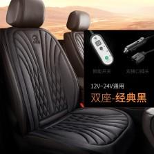 卡客汽车加热坐垫单片冬季车载电加热座椅车垫保暖【黑色-双座】