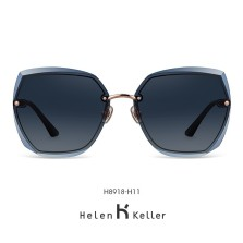 海伦凯勒墨镜女2020年新款太阳镜女圆脸高圆圆同款韩版潮大框眼镜偏光墨镜 H8918H11玫瑰金框+深灰渐进