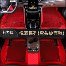 艾特卡乐/@color 特斯拉 modelx 专用五坐版汽车脚垫【底盘贴膜系列】【悦豪系列-魅力红】
