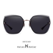 海伦凯勒墨镜女2020年新款太阳镜女圆脸高圆圆同款韩版潮大框眼镜偏光墨镜 H8918H09玫瑰金框+紫墨色