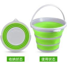 悦卡 洗车水桶多功能便携式大容量折叠水桶车家两用10L【灰绿色】