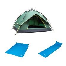 德国TAWA 3-4人液压款全自动帐篷+双人气垫床+单人气垫床【家庭套装-铺满帐篷】自驾野营标配
