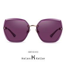 海伦凯勒墨镜女2020年新款太阳镜女圆脸高圆圆同款韩版潮大框眼镜偏光墨镜 H8918H10玫瑰金框+亮紫色