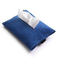 梵汐 意大利进口alcantara 翻毛皮多功能挂式纸巾盒【蓝】