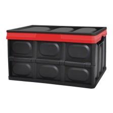 悦卡 可折叠汽车收纳箱 55L家用车载多功能储物箱整理箱 炫酷黑(中号 55L)