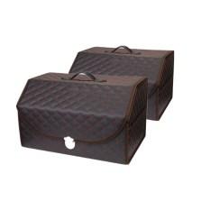 乔氏 格子中号 车载多功能折叠置物箱收纳储物箱 30*33*51cm【黑红2只装】