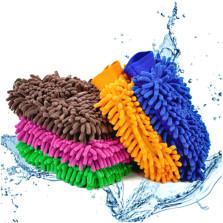 传枫 雪尼尔擦车手套 细纤维珊瑚绒海绵手套 干湿两用 【1条装】