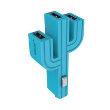 顽卓/VOJO正品仙人掌三USB车载充电器,内置LED,5V/(1A+2.1A+1A) 湖蓝