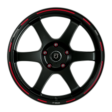 【买3送1 四只套装】丰途/FT601 18寸 低压铸造轮毂 孔距5X112 ET38亚黑红边刻字限量版