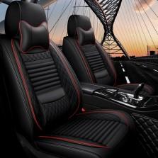 梦雅德 汽车坐垫四季通用全包围座套新款6D亚麻固定腰靠全包座垫套   (豪华版  神秘黑)